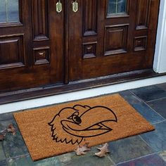 Kansas Jayhawks Flocked Coir Door Mat  #Fanatics