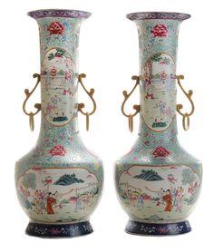 Fine Pair Monumental Antique Famille Rose Enamel-Decorated Porcelain Vases - Lot 692 of the September 12-13, 2014 auction at Brunk Auctions