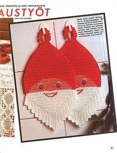 Virkkaa hauska tonttupatalappu | Kodin Kuvalehti Christmas Time, Christmas Crafts, Christmas Decorations, Crochet Potholders, Crochet Hats, Crochet Angels, Vintage Christmas Images, Pin And Patches, Handicraft