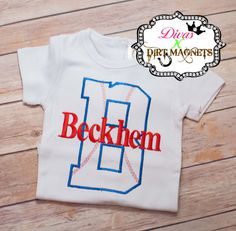 Monogrammed Personalized Embroidered Baseball Shirt, Team Shirt, Sports Shirt, Baseball Shirt, Boys Monogrammed Shirt Team Shirts, Baseball Shirts, Sports Shirts, Baseball Birthday Party, Monogram Shirts, Divas, Magnets, Trending Outfits, My Style