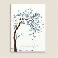 Abstract Wall Art 5 x 7 Print, Fantasy Watercolor Tree Winter Blue Wall Decor, Love Birds, Circles, Home Decorating Watercolor Trees, Watercolor Paintings, Watercolor Circles, Abstract Wall Art, Tree Art, Metal Wall Art, Painting Inspiration, Diy Art, Painting & Drawing