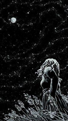 Картинка с тегом «stars, moon, and night»