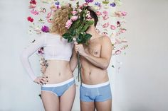 Blue Dots Couples Underwear Set - Funny and Romantic Gift for Wedding, Anniversary and other occasions