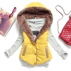 Ymhy2013 autumn and winter plus size slim plus velvet vest thermal down cotton with a hood vest female all-match $25.80