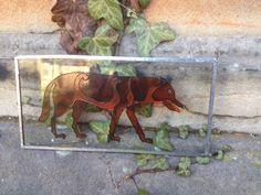 Ardross Wolf Pictish window hanger Brown by SunhoneyDesigns
