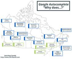 And this map shows the auto-complete search terms Canadians in different provinces are googling. 15 Interesting Maps That Will Change The Way You See Canada Canada Eh, Northwest Territories, Canadian History, Daylight Savings Time, Prince Edward Island, Interactive Map, New Brunswick