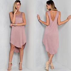 Vintage Inspired Basic Dress in ROSE Open back, open side panel, hi low hem. 97% Rayon 2% Polyester 1% Spandex. MADE IN THE USA. DO NOT PURCHASE THIS LISTING. Comment on size/color and a separate listing will be made. Item is Brand New without tags by manufacturer. Offers placed on listing will be ignored. Dresses