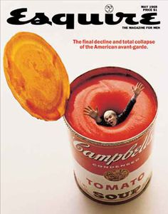 Andy Warhol drowning in a can of Campbell's soup.