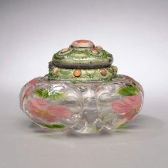 131: Tiffany Studios Inkstand---intaglio carved peonies---estimated at 75,000 to $100,000