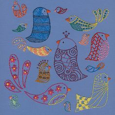 This embroidery pattern features all kinds of pretty birds, perfect for stitching on anything from tea towels to T-shirts.
