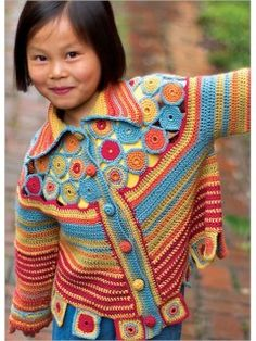 """Yo-Yo Cardigan""  from Annie Modesitt. The downloadable Crochet instructions are for sale on ""Interweave"""
