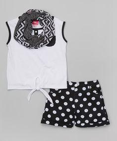 Black & White Tank Set - Girls by Girls Luv Pink #zulily #zulilyfinds