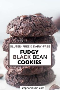 These Black Bean cookies are rich fudgy and delicious. A decadent chocolate treat that's made without refined sugar. Paleo Dessert, Healthy Dessert Recipes, Healthy Baking, Vegan Desserts, Black Bean Cookies, Black Bean Brownies, Healthy Munchies, Black Bean Recipes, Tea Snacks