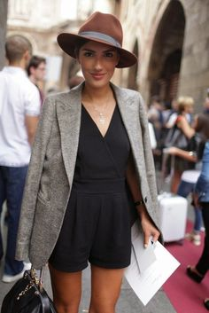 Menswear inspired look with a tweed blazer and felt hat.