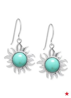 Add a (sun) burst of style to your out t of the day. These bold, turquoise earrings are lightweight and super- cute!