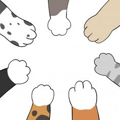 Draw cat and dog paws.doodle cartoon sty...   Premium Vector #Freepik #vector #hand #dog #character #cartoon Cute Easy Drawings, Kawaii Drawings, Doodle Drawings, Dog Paw Cartoon, Doodle Cartoon, Wallpaper Gatos, Cat Phone Wallpaper, Gatos Vector, Cat And Dog Drawing