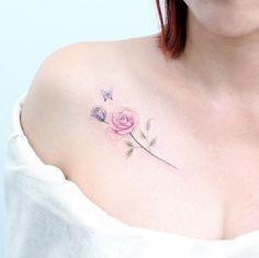 Pink rose by Mini Lau Mini Tattoos, Trendy Tattoos, Small Tattoos, Tattoos For Women, New Tattoo Designs, Tattoo Designs For Girls, Diy Tattoo, Tattoo Fonts, Tattoo Moon
