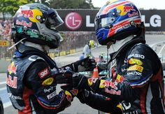 What are Mark Webber and Sebastian Vettel doing/saying here? CAPTION THIS photo! (Photo: LAT)