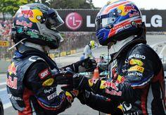 What are Mark Webber and Sebastian Vettel doing/saying here? CAPTION THIS photo! (Photo: LAT)