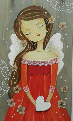 Angel of Valentine - Rock Kunst, Art Fantaisiste, Angel Artwork, Angel Paintings, Angel Drawing, Angel Crafts, Angel Pictures, Guardian Angels, Whimsical Art