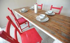 IKEA hackers: IKEA IVAR distressed farm chairs. love the red and these would look awesome with our dining room table.