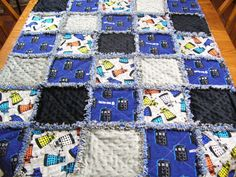 Baby Rag quilt made from Doctor Who fabric, Rag quilt, Doctor Who rag quilt, Doctor Who blanket, childs Doctor Who quilt, Toddler quilt