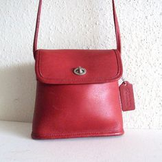Vintage Red Coach leather mini Sling bag by pascalvintage on Etsy, $77.00