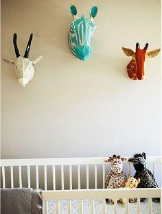 Paper mache animal heads via Dwell Studio, perfect for her nursery theme