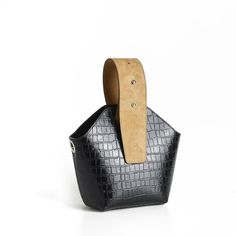 the Bucket Mini   Black Croc Embossed + Caramel Suede