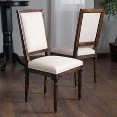 Set of 2 French Design Weathered Oak Floral Linen Beige Fabric Dining Chairs #GreatDealFurniture #FrenchCountry