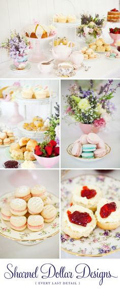 high tea wedding shower. If I had had a wedding shower, I would love scones, strawberry jam, devonshire cream, mini sandwiches, and macarons, BUT in my colors! #thebridalcollection