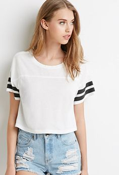 White&&PINKVarsity-Striped Crop Top | Forever 21 - 2000053997