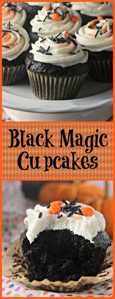 Deep, dark, rich cocoa flavored cupcakes with a vanilla bean icing Hands down this is the BEST chocolate cupcake recipe I have found! What a great Halloween dessert recipe! Flavored Cupcakes, Cupcake Flavors, Yummy Cupcakes, Cupcake Recipes, Cupcake Cakes, Halloween Desserts, Halloween Food For Party, Halloween Cupcakes, Halloween Treats