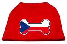 MiragePet Dog Cat Apparel Bone Shaped Czech Republic Flag Screen Print Shirts Red Large (14)