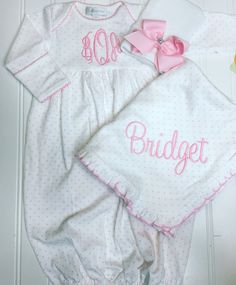 Etsy Baby girl coming home outfit, Monogrammed gown, Personalized Baby gift, Monogrammed sleeper, pima co Girls Coming Home Outfit, Take Home Outfit, Baby Mine, Baby Embroidery, Baby Monogram, Baby Gown, Personalized Baby Gifts, Newborn Pictures, Cute Baby Clothes