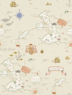 Galapagos (213362) - Sanderson Wallpapers - A vintage map wallpaper design, depicting Darwin's archipelago. This wallpaper features islands and also the animals which inhabit the specific island. Shown here in  natural beige. Other colourways are available. Please request a sample for a true colour match. Paste the wall.