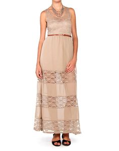 maxi with lace details.  easy and boho.