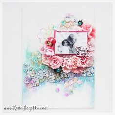 Little Sister - mixed media canvas for Sizzix - by Kasia Bogatko