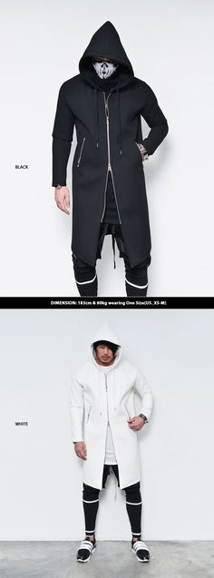Tops :: Double-Side Zip Long Neoprene Hoodie-Jacket 138 - Mens Fashion Clothing For An Attractive Guy Look