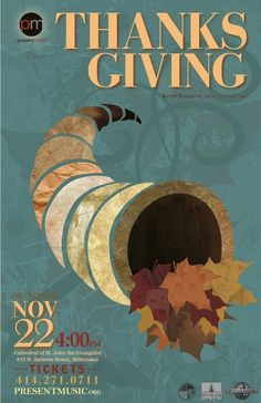 Thanksgiving Event Poster: Texture on texture, would make cute quilted wall hanging.