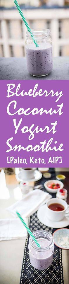Blueberry Coconut Yogurt Smoothie Recipe [Paleo, Keto, AIP] #paleo #keto #aip - http://paleomagazine.com/blueberry-yogurt-smoothie-recipe-paleo-keto-aip