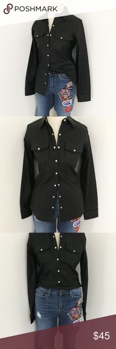"""Come Ride With Me Moto Top Sigh....you gotta love a good fitted shirt. The come ride with me moto top is a fall favorite. """"Pearl"""" snap button closure. Double breasted pocket detail. Fitted waist. Light stretch leather material. Pair with some jeans or go all black everything with some leather leggings and booties. Tops Button Down Shirts"""