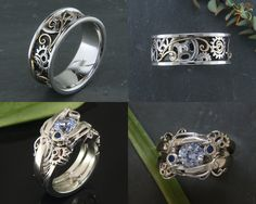 Steampunk wedding set: Custom setting with sapphire (hers) & custom band with gold filigree (his)