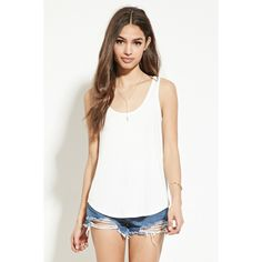Forever 21 Women's  Curved-Hem Tank ($7.90) ❤ liked on Polyvore featuring tops, forever 21 tank, white tank top, white singlet, scoop neck tank top and white tank