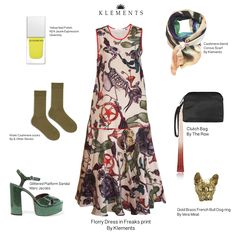 KLEMENTS FLORRY DRESS WITH CORVUS SILK SCARF GLITTER GREEN MARC JACOBS PLATFORM SANDALS KHAKI CASHMERE SOCKS & OTEHR STORIES YELLOW NAILS GIVENCHY, CLUCTH BAG THE ROW, DOG RING VERA MEAT. KLEMENTS PRINT OF STAR, CACTUS, DOG, STRANGE FLOWERS, PARROT SKELETON, CROW. MADE IN ENGLAND