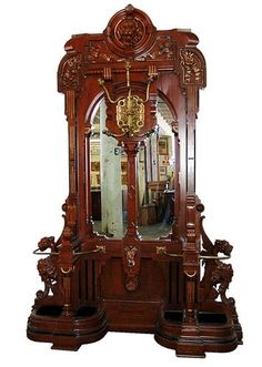 Large Antique Carved Rosewood Renaissance Revival Hall Tree by jayne