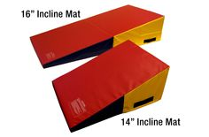 Incline Mats - Durable Gymnastic Wedge Mats  I  Incline mats come in two sizes and are the perfect tools for teaching hand springs, walkovers, basic rolls, as crash pads, tumbling aids, landing mats, in gymnastic studios, in home gyms and any where a portable incline mat is desired.