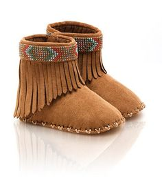 Ultra soft baby moccasin with contrasting stitching and colorful stud detailing...♥  Stuart Weitzman BABYPOCO