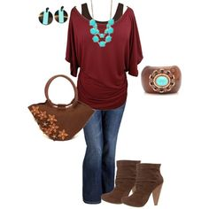 wine, turquoise, brow jeans outfit fall plus size, created by penny-martin on Polyvore