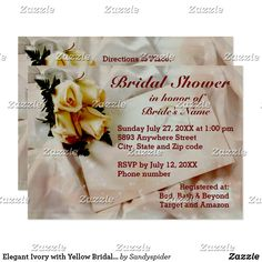 Elegant Ivory with Yellow Bridal Shower Invitations.  Designed for you by Sandyspider Gifts.  #bridalshowerinvitations